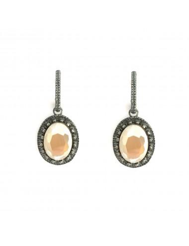 Ceramic Oval Frame Crown Earrings in Dark Sterling Silver with Beige Crystal Ceramic
