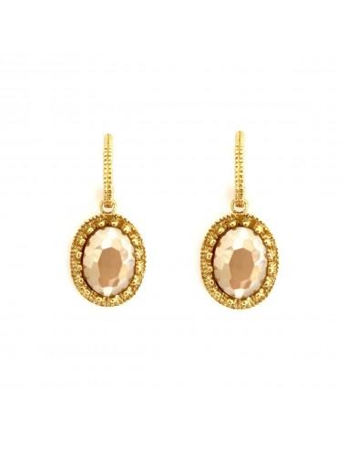 Pendientes Oro Oval Corona Con Cerco Y Cristal Cerámico Beige Ceramic