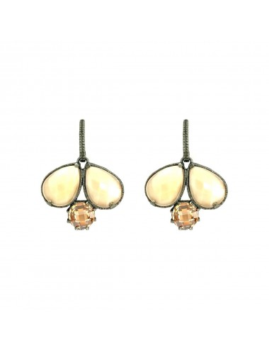 Ceramic Double Drop Earrings in Dark Sterling Silver with Beige Crystal Ceramic and Beige Circonita
