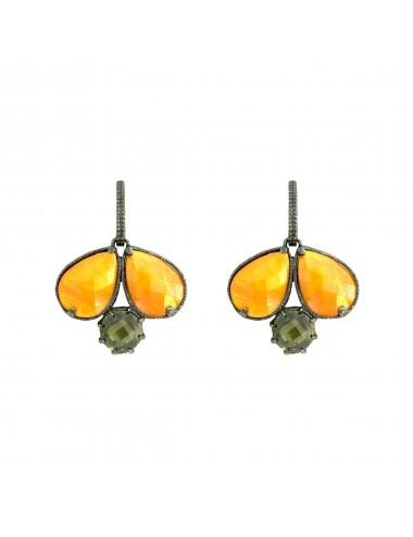 Pendientes Plata Oxidada Doble Gota Con Cristal Cerámico Naranja Y Circonita Verde Ceramic