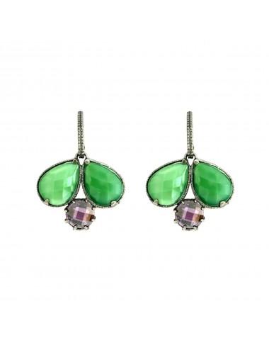 Pendientes Plata Oxidada Doble Gota Con Cristal Cerámico Verde Y Circonita Morada Ceramic
