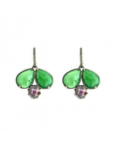 Ceramic Double Drop Earrings in Dark Sterling Silver with Green Crystal Ceramic and Purple Circonita