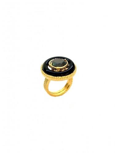 Disco Onix Hoop Ring in Sterling Silver Vermeil
