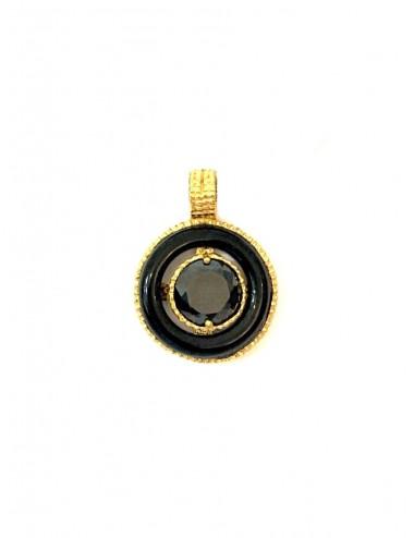 Disco Onix Hoop Pendant in Sterling Silver Vermeil