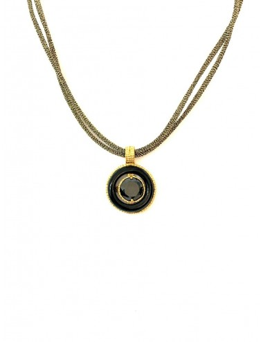 Disco Onix Necklace in Sterling Silver Vermeil with Hoop Onix and Metallic Silk Cordon