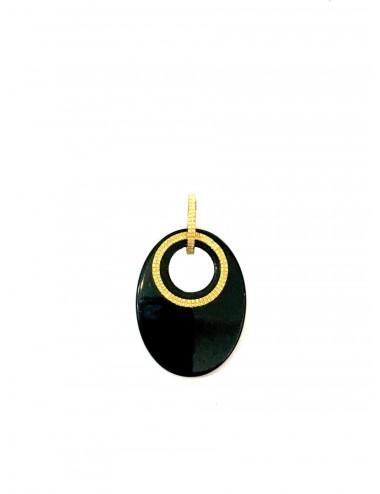 Colgante Oro Con Onix Oval Disco Onix