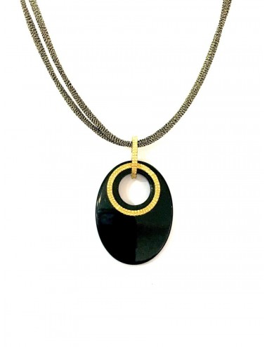Disco Onix Necklace in Sterling Silver Vermeil with Oval Onix and Metallic Silk Cordon