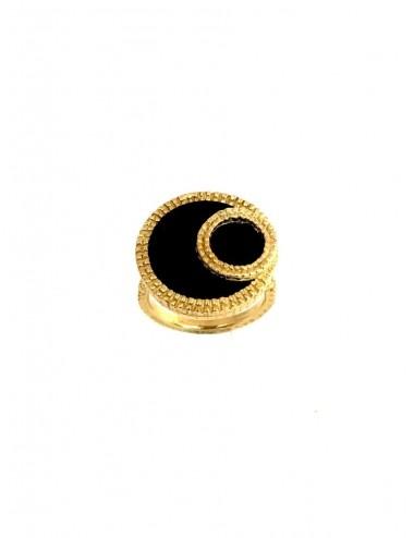 Disco Onix Hoop small Ring in Sterling Silver Vermeil