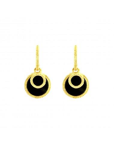 Disco Onix Earrings in Sterling Silver Vermeil