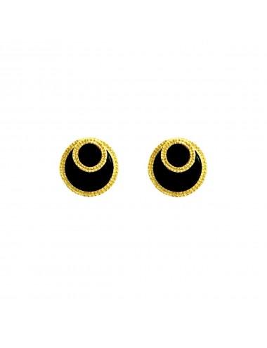 Pendientes Oro Pegados Con Disco De Onix