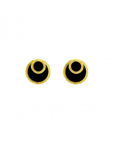 Disco Onix Button Earrings in Sterling Silver Vermeil