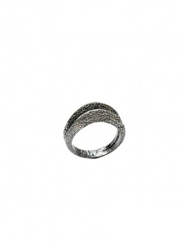 Dunes Double Ring in Dark Sterling Silver