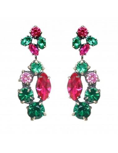 Kaleidoscope Emerald Green Long Earrings in Dark Sterling Silver