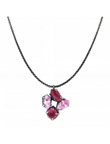 Kaleidoscope Pink Small Pendant in Dark Sterling Silver