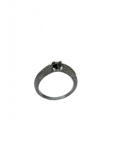 Dunes Ring in Dark Sterling Silver with Black Circonita
