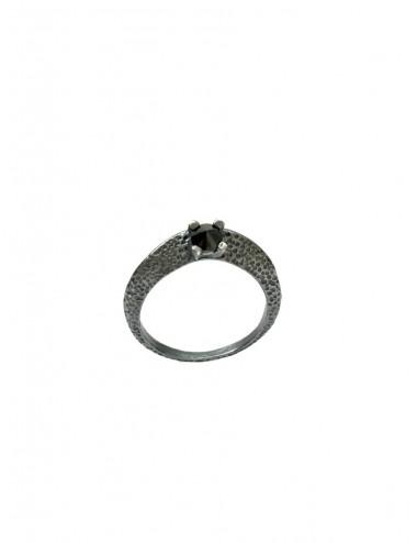 Dunes Ring in Dark Sterling Silver with Black Circonita