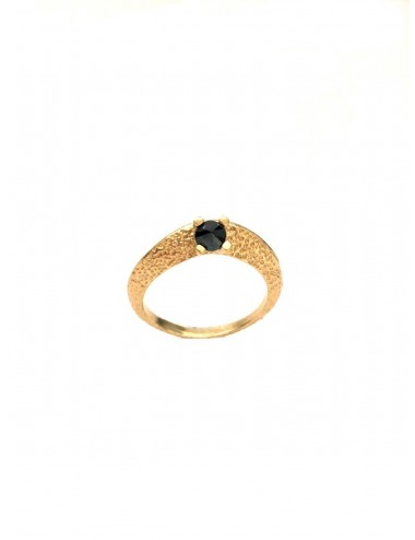 Dunes Ring in Sterling Silver Vermeil with Black Circonita