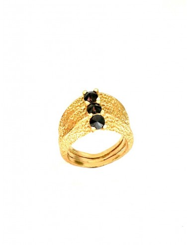 Dunes Ring in Sterling Silver Vermeil with 3 Black Circonitas