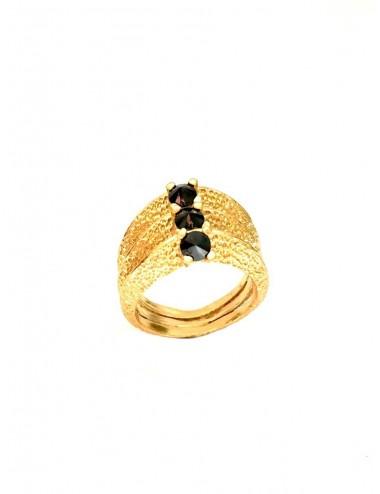Dunes Ring in Sterling Silver Vermeil with 3 Black Circonitas