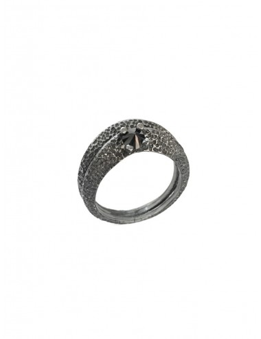 Dunes Double Outward Ring in Dark Sterling Silver with Black Circonita