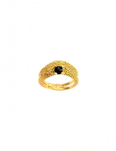 Dunes Double Outward Ring in Sterling Silver Vermeil with Black Circonita
