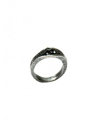 Dunes Double Inward Ring in Dark Sterling Silver with Black Circonita