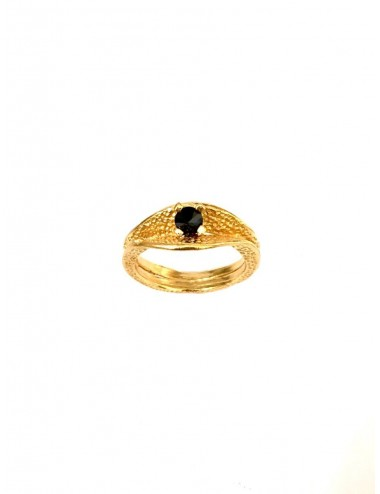 Dunes Double Inward Ring in Sterling Silver Vermeil with Black Circonita