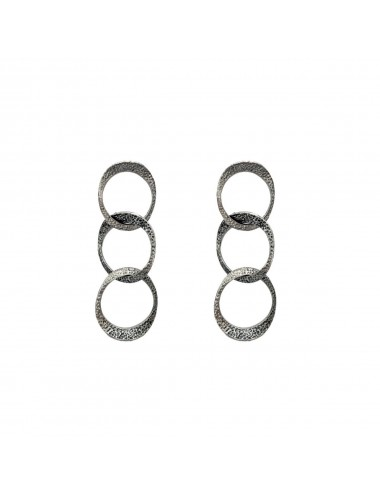 Dunes Triple Earrings In Dark Sterling Silver
