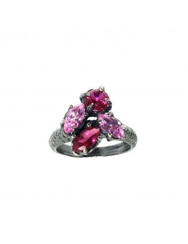 Kaleidoscope Pink Small Ring in Dark Sterling Silver
