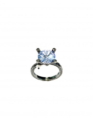 Minimal Faceted Solitaire Ring in Dark Sterling Silver with Blue Circonita