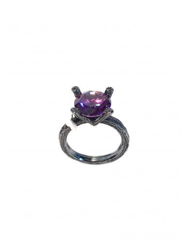 Minimal Faceted Solitaire Ring in Dark Sterling Silver with Purple Circonita