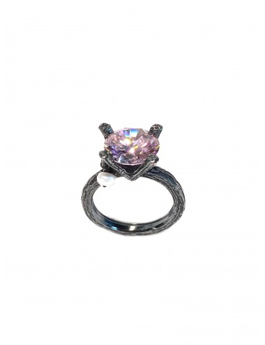 Minimal Faceted Solitaire Ring in Dark Sterling Silver with Pink Circonita