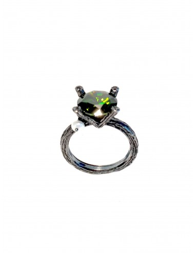 Minimal Faceted Solitaire Ring in Dark Sterling Silver with Green Circonita