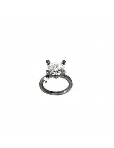 Minimal Faceted Solitaire Ring in Dark Sterling Silver with White Circonita
