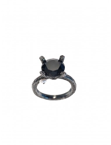 Minimal Faceted Solitaire Ring in Dark Sterling Silver with Black Circonita