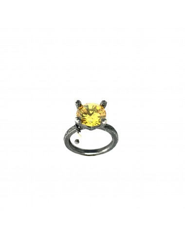 Minimal Faceted Solitaire Ring in Dark Sterling Silver with Yellow Circonita