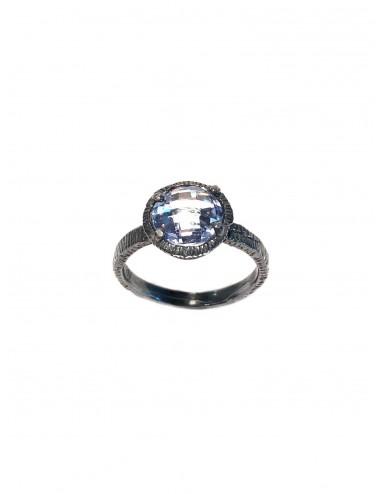 Minimal Ring in Dark Sterling Silver with Blue Circonita