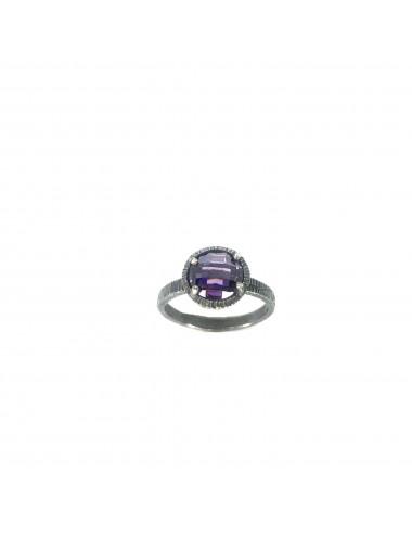 Minimal Ring in Dark Sterling Silver with Purple Circonita