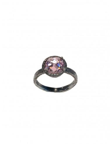 Minimal Ring in Dark Sterling Silver with Pink Circonita