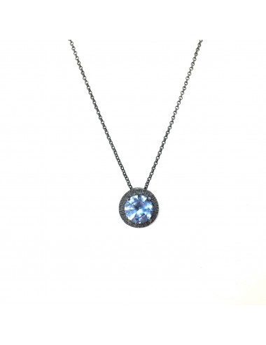 Minimal Long Necklace in Dark Sterling Silver with Blue Circonita
