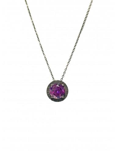 Minimal Long Necklace in Dark Sterling Silver with Purple Circonita