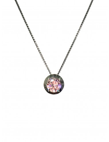 Minimal Long Necklace in Dark Sterling Silver with Pink Circonita