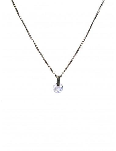 Minimal Medium Necklace in Dark Sterling Silver with Blue Circonita
