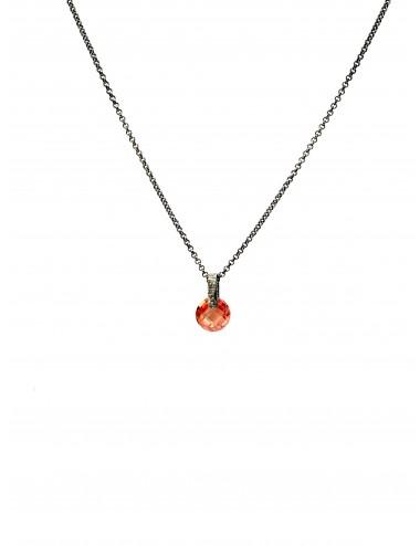 Minimal Medium Necklace in Dark Sterling Silver with Beige Circonita