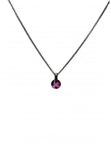 Minimal Medium Necklace in Dark Sterling Silver with Purple Circonita