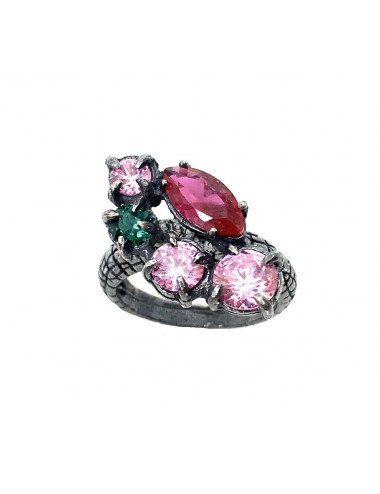 Kaleidoscope Pink Large Ring in Dark Sterling Silver