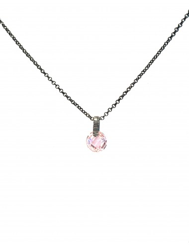 Minimal Medium Necklace in Dark Sterling Silver with Pink Circonita