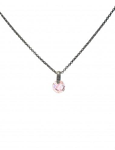 Minimal Medium Necklace in Dark Sterling Silver with Pink Circonita