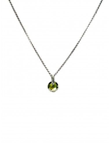 Minimal Medium Necklace in Dark Sterling Silver with Green Circonita
