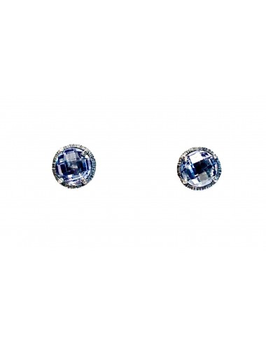 Minimal Button Earrings in Dark Sterling Silver with Blue Circonita
